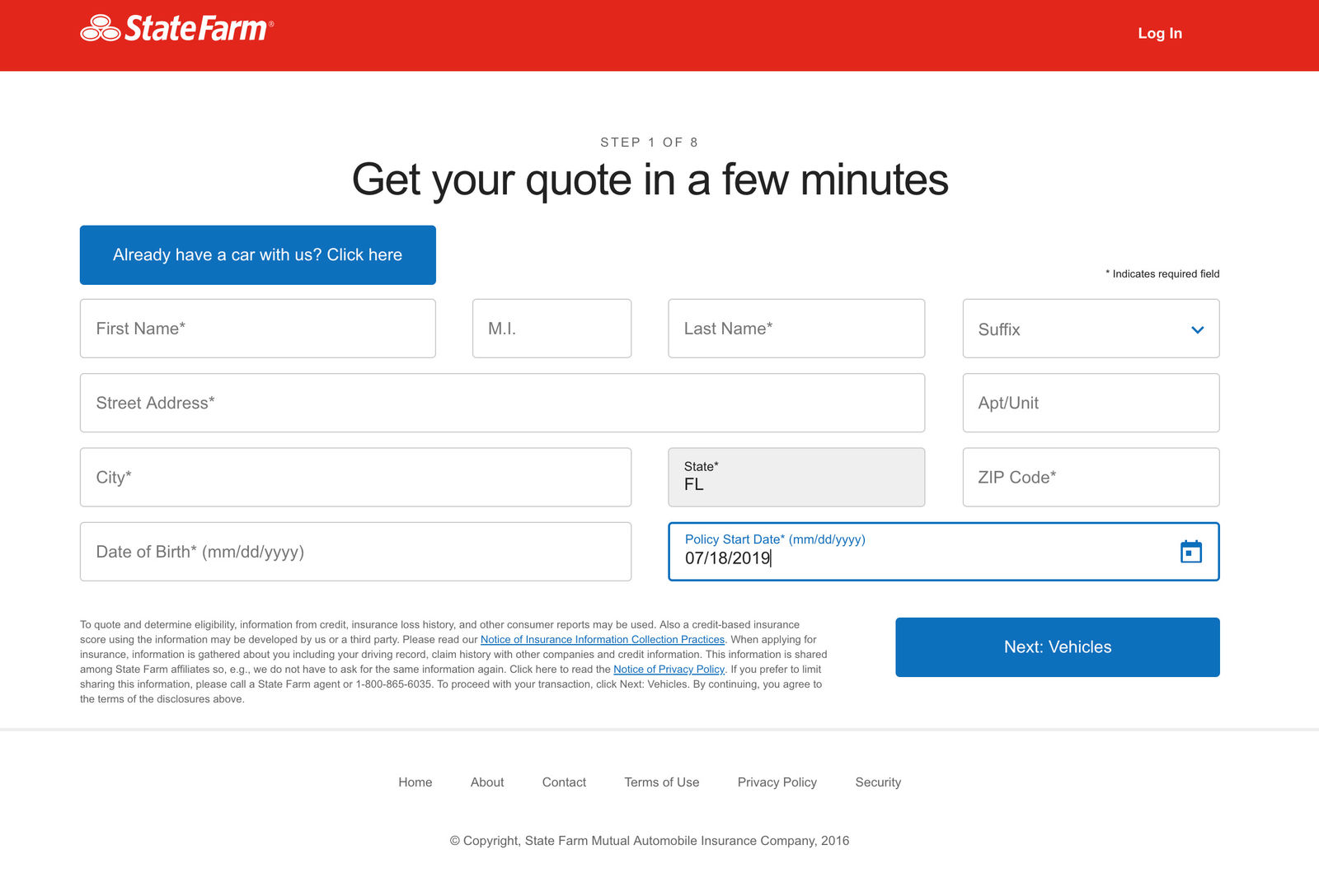 State Farm Quotes personal info